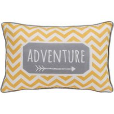 Introduce a festive look to your home decor with this contemporary Better Homes and Gardens Chevron Adventure Yellow Oblong Pillow from Walmart.com. This whimsical pillow with binding in grey will work nicely on a sofa, in a favorite chair or on top of a bed to update and transform your interior design.