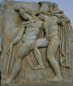 Achilles supporting the slumping figure of the Amazon queen Penthesilea whom he has mortally wounded. Her double headed axe slips from her hand. The queen had come to fight in the Trojan War against the invading Greeks. Between her being wounded and dying in his arms, the time presented here, Achilles fell in love with her. - Museum of Aphrodisias.