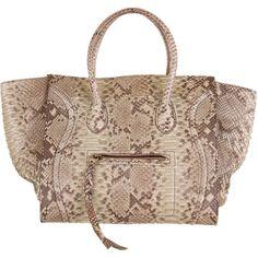 Céline Phantom Tote ($3,595) ❤ liked on Polyvore featuring bags, handbags, tote bags, borse, celine, snakeskin purse, python tote, snake skin purse, brown purse and snake print handbag