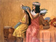 Before The Dance Hawaiian Hula Dance, Hawaiian Art, Vintage Posters, Vintage Art, Islas Cook, Beauty In Art, Pure Beauty, Polynesian Art, Vintage Hawaii