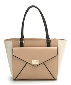 Another great find on #zulily! Kate Spade Beige & White Johanna Wesley Place Leather Tote by Kate Spade #zulilyfinds