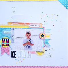 Ice Cream - by Monika Głód using the Shoreline collection from American Crafts. #scrapbooking #layout #beach #icecream
