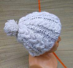 hand knitted white pom pom hat knitted pom от peonijahandmadeshop