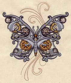 Steam Motifs - Butterfly design (UT2356) from UrbanThreads.com