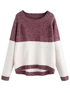 Milumia Womens Two Tone Marled Knit High Low Sweater One Size White and Red *** You can get more details by clicking on the image. (This is an affiliate link)