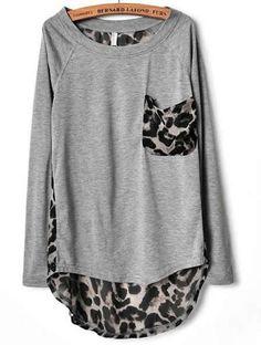 Leopard Print Chiffon T-shirt ( Black or Grey) want this shirrrrrt