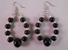 Black Glass Beaded Hoops