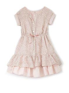 Girl's Ruffle Dress with Dot Trim