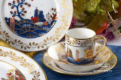 The Miramare Castle is a castle, built for Austrian Archduke Maximilian Habsburg and his wife. Painted with the harmony of rich gold and oriental blue. Maximilian I, Archduke, Coffee Set, Dinner Sets, Modern Luxury, Fine China, Dinner Plates, Tea Set, Cup And Saucer