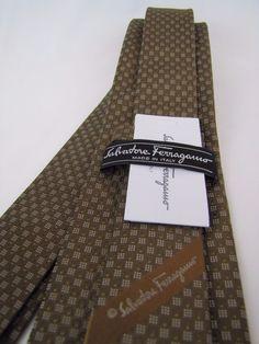 NWT SALVATORE FERRAGAMO Tie Gancini Woven Jacquard Silk Bronze Italy New Necktie #SalvatoreFerragamo #Tie