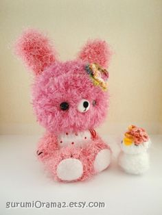 kawaii amigurumi Bunny pink fuzzy and white chick  by gurumiorama2, $30.50  #MarMad #HandmadeC