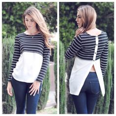 Striped Long Sleeve/Chiffon ▪️Trendy black and white striped long sleeve top with a contrasting chiffon bottom and a sassy split back to show off a little skin. 😉*****vendor sent me ONE NAVY chiffon bottom top in MEDIUM. The rest are white like the cover pic.   ▪️0S, 1M, 0L ❗️Sold out of small & large❗️  ❗️No trades❗️65% Rayon, 30% Polyester, 5% Spandex, chiffon: 100% Polyester Southern Bellatique Tops Tees - Long Sleeve