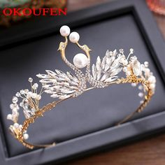 Sparkle Rhinestone Pearls Wedding Crowns 2018 Gold Alloy Beading Jewelry Hair Tiaras For Women Bridal Headpieces Pageant Gown