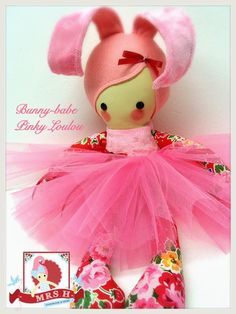 Handmade Bunny-babe doll made from 100% wool felt, cotton and plush fabrics. She wears a removable tutu and extras clothes can be ordered separately.Perfect for Easter and much healthier than chocolate!Suitable from birthHandwash only An original design from Mrs.H Handmade