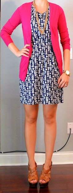Outfit Posts: outfit post: blue floral dress, pink cardigan