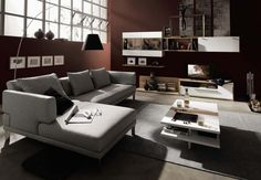 Living Room Grey Sofa White Table Grey Carpet Dark Brown Wall White Flat TV Wooden Shelves Floor Glass Windows Black Floor Lamp Contemporary Living Room Chairs Trying to apply contemporary living room furniture