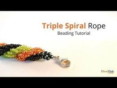 Try this free Triple Spiral Rope tutorial, a variation of Spiral Rope Stitch, to create your own beaded bracelets or necklaces. Seed Bead Necklace, Seed Bead Jewelry, Seed Beads, Seed Bead Patterns, Beading Patterns, Making Bracelets With Beads, Beaded Bracelets Tutorial, Beaded Jewelry Designs, Beading Tutorials