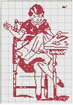 0 point de croix monochrome femme brodant - cross stitch girl embroidering