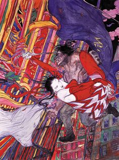 Elektra and Wolverine by Yoshitaka Amano