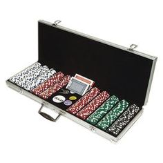 Enjoy a night of chance and cards with this essential poker chip set, featuring 150 white, 200 red, 100 green, and 50 black pieces nestled in a silver-hued metal case.           Product: Dice style poker chip set  Construction Material: Aluminum, velour and composite resin  Color: Silver case   Features: Casino sized at 39 mm diameterCase holds up to 500 poker chips, two decks of cards, a dealer button and two blind buttons (all included)Includes 150 white, 200 red, 100 green, and 50 black…