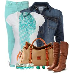 Love this look. Recreate with CAbi's Thin Mint Jeggings, Perfect Tee, and vintage Cuffed Up Jean Jacket.