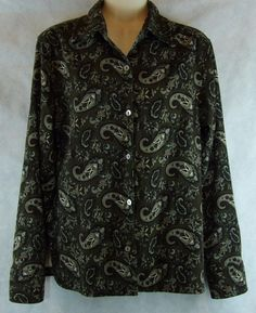 La Cabana Greens Paisley Button Blouse Soft Stretch Shirt Long Sleeve Size M…