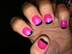Pink and black nails
