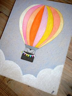 Hot Air Balloon original drawing by TheRusticThistle on Etsy, $35.00