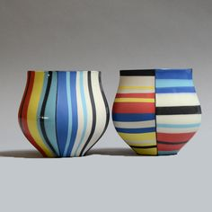 Peter Pincus Studio KotoKoto | Footed Cups: Black and Brights Pair