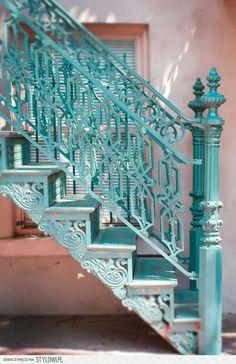 Travel Photography - Savannah, Georgia, Teal Staircase, Southern Gothic Romantic Wall Decor on Etsy Shades Of Turquoise, Aqua Blue, Shades Of Blue, Turquoise Color, Vintage Turquoise, Turquoise Jewelry, Verde Tiffany, Azul Tiffany, Art Nouveau