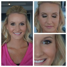 Carrie Underwood Inspired Bridal Hair & Makeup  Updo, Curls, Flawless Foundation, Shimmery Soft Smokey Eye, False Lashes, Soft Pink/Nude Lip