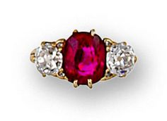n antique ruby and diamond ring, circa 1890  centering an oval-shaped ruby flanked by old European-cut diamond shoulders and accentuated by small rose-cut diamonds; ruby weighing approximately: 3.00 carats; estimated total diamond weight: 1.70 carats; mounted in eighteen karat gold