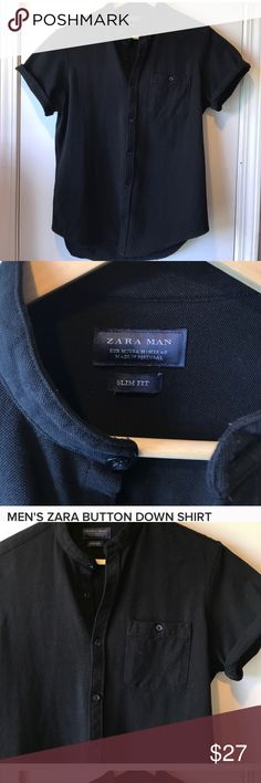 Zara Men's button down black shirt This is such a good looking shirt. Excellent used condition. Only caveat — it says MEDIUM, but the shirt fits like an XS or SM. Zara Shirts Casual Button Down Shirts