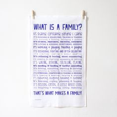 Tea towel with a poem about Family