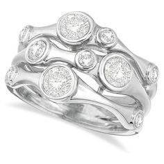 Bezel Set Bubble Shape Right-Hand Diamond Ring 14k White Gold (1.09ct)