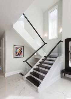 Bedford Park Home Renovation Glass Stairs Design, Staircase Design Modern, Staircase Railing Design, Modern Stair Railing, Home Stairs Design, House Staircase, Interior Stairs, Design Your Home, Modern House Design