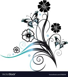 Immagini, foto stock e grafica vettoriale simili a tema Floral design element, black fancy flower on white, vintage vector decoration - 150679205 Free Vector Images, Vector Free, Lotus Flower Design, Floral Design, Flower Silhouette, Silhouette Art, Angel Vector, Framed Leaves, Canvas Painting Tutorials