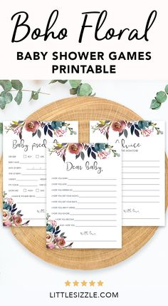 Boho Floral Baby Shower Games Printable by LittleSizzle. Are you hosting a boho baby shower? Create meaningful keepsakes for the new mom and entertain your guests with this boho floral baby shower games package. The package includes advice cards, dear baby wishes card and baby predictions cards. Simply download, print and WOW everyone. #bohofloralbabyshowerideas #bohobabyshowergames #babyshowergamesprintables #babyshowerkeepsakesformom #DIY
