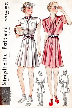 30s 1930s Simplicity 2424 vintage sewing pattern playsuit culottes sports ensemble bust 38 b38 reproduction