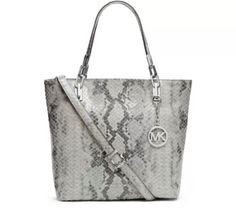 Michael kors brooke pearl grey leather purse tote handbag