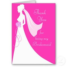 Thank you for being my Maid of Honor - Pink Stationery Note Card Personalized Thank You Cards, Custom Thank You Cards, Personalized Wedding Gifts, Bridesmaid Thank You Cards, Wedding Thank You Cards, Bride Silhouette, Pink Cards, Wedding Matches, Invitation Set