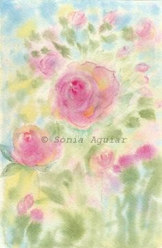 """""""Flowers garden 2"""" Flowers Watercolor Painting By Sonia Aguiar."""
