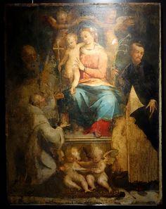 Perino del Vaga (Pietro Buonaccorsi), 1501-1547, Italian, Madonna Enthroned with Child and Saints Joseph, Francis, and Dominic, 1534-1536.  Oil on panel.  Museo Diocesano, Genoa.  High Renaissance, Mannerism.