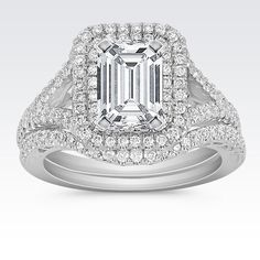 Double Diamond Halo and Split Shank Wedding Set with Emerald Cut Diamond from Shane Co. Available with your choice of ruby, diamond or sapphire center stone.
