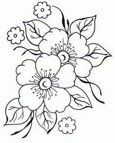 Flower Art Drawing, Flower Sketches, Art Drawings Sketches, Easy Drawings, Flower Pattern Drawing, Drawing Designs, Flower Drawings, Embroidery Flowers Pattern, Hand Embroidery Designs
