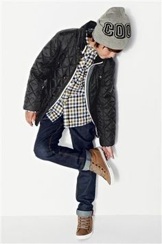Black Quilted Jacket with gingham shirt and super skinny stretch jeans, canvas boot and grey beanie to accessorise (3-16yrs) from the Next UK online shop