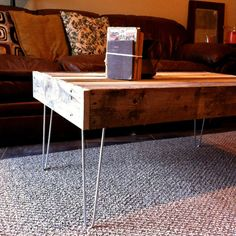 Reclaimed Barnwood Wood Coffee Table with steel by triple7recycled, $300.00