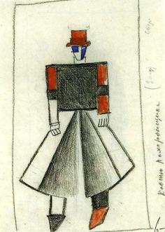 'Entrepreneur', crayon de Kazimir Severinovich Malevich (1879-1878, Russia)