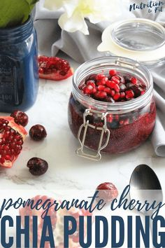 Pomegranate Cherry Chia Pudding is the easiest #CrazyHealthy snack with POM Wonderful 100% Pomegranate Juice. It's entirely fruit-sweetened, dairy-free, and a delicious take on chia pudding.