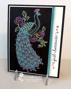 This card is gorgeous! We made it at a recent Blendabilities class I held. It looks so complicated and time consuming doesn't it? I embossed the image on the Black card Hand Made Greeting Cards, Making Greeting Cards, Scrapbooking, Scrapbook Cards, Perfect Peacock, Tattered Lace Cards, Bee Cards, Card Making Techniques, Stamping Up Cards